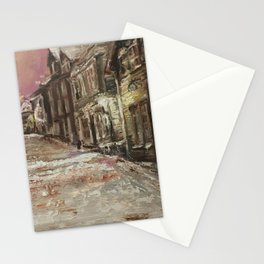 Old City Print Original Oil Painting on Canvas Stationery Cards