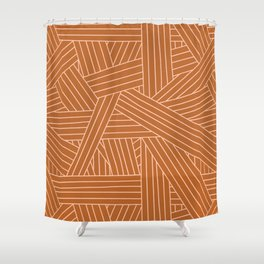 Crossing Lines in Brown + Blush Pink Shower Curtain
