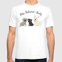 Custom Dog Art- Bella, Bulb, Bucky White Mens Fitted Tee SMALL