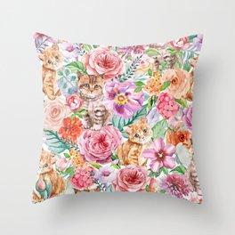 Kittens in flowers Throw Pillow