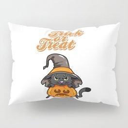 Trick or Treat Halloween Cat Pumpkin Gift Kitty Pillow Sham