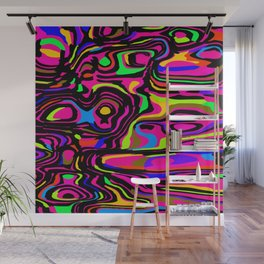 Juicy flowing spots of neon colors with pink. Wall Mural
