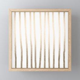 Simply Drawn Vertical Stripes in White Gold Sands Framed Mini Art Print