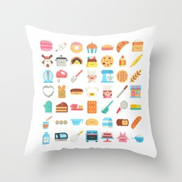CUTE BAKERY PATTERN (CUTE CHEF BAKER) Throw Pillow