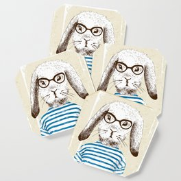 Hipster Rabit with Style Coaster