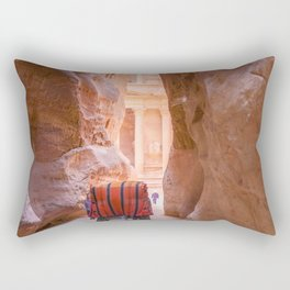 Carriage Ride through Petra Jordan toward the Treasury Rectangular Pillow