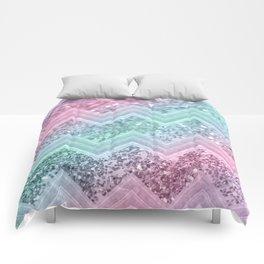 Mermaid Glitter Chevron #2 #shiny #pastel #decor #art #society6 Comforters