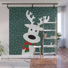 Reindeer in a snowy day (green) Wall Mural