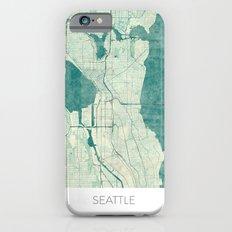 Seattle Map Blue Vintage iPhone 6s Slim Case