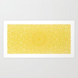 Hand Drawn Mandala // Sunshine Yellow Tribal Eclectic Intricate Modern Minimal Trending Popular Art Print