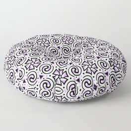 Purple, Black and White Geometric Swirl Pattern Floor Pillow