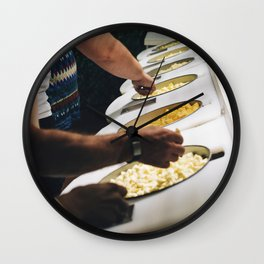 Tasting cheese at a cheese factory Wall Clock