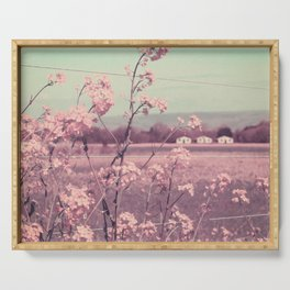 Sweet Spring (Teal Sky, Soft Pink Wildflowers, Rural Cottage) Serving Tray