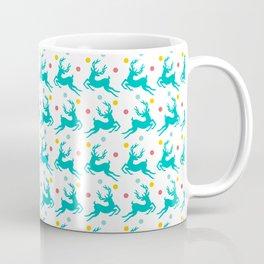 Blue Reindeer Christmas Pattern Coffee Mug