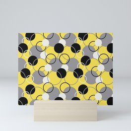 Solid Color Circles and Rings Pattern V3 Pantone 2021 Color Of The Year Illuminating and Ultimate Gray  Mini Art Print