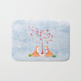 Fox love- foxes animal nature _ Watercolor illustration Bath Mat