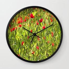 Surreal Hypnotic Poppies Wall Clock