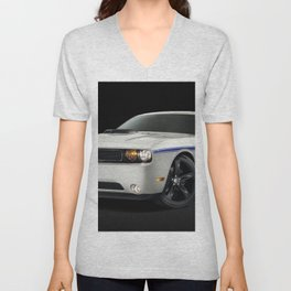 MOPAR Challenger in white with only 1 of 100 made Unisex V-Neck