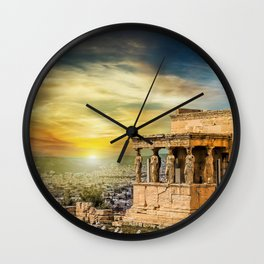 The Caryatids of Acropolis in Athens, Greece Wall Clock