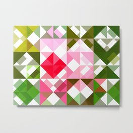 Pink Roses in Anzures 4 Abstract Triangles 1 Metal Print