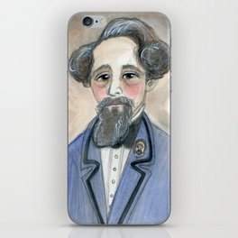 Charles Dickens in Blue, Victorian Literary Portrait iPhone Skin