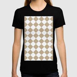 Large Diamonds - White and Khaki Brown T-shirt