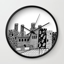 Wales Conwy Castle Patterned Illustration Wall Clock