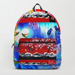 mainly red Backpack