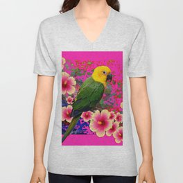 YELLOW HEADED GREEN PARROT PINK HIBISCUS  FUCHSIAFLORAL Unisex V-Neck