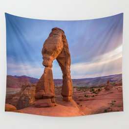Golden Arch - Delicate Arch at Sunset in Utah Wall Tapestry