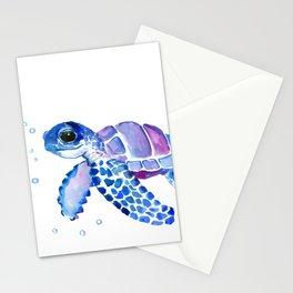 Blue Purple Sea Turtle, Children artwork Stationery Cards