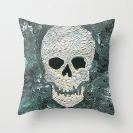 Large Skull Painting Throw Pillow
