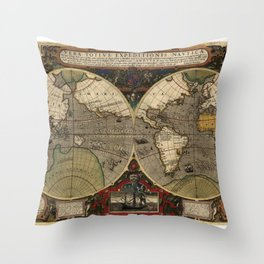 1595 Vera Totius Expeditionis Nauticae - Map of Sir Francis Drake's Circumnavigation of the Globe Throw Pillow