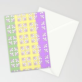 Tri colored MG with white fleur de lis Stationery Cards