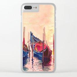 Gondolas parking Venice Clear iPhone Case