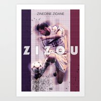 zidane Art Prints featuring Zinedine Zidane (Zizou) by NaniGraphics