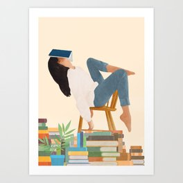 Lost in my books Art Print
