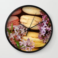 macaroons Wall Clocks featuring Pretty Macaroons by Olivia Joy StClaire