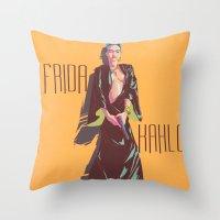 frida kahlo Throw Pillows featuring Frida Kahlo by antoniopiedade