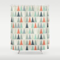 triangles Shower Curtains featuring Triangles by Dizzy Moments