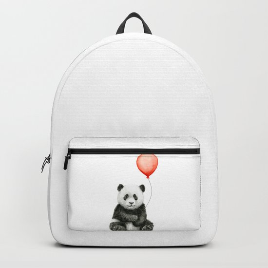 Panda and Red Balloon Baby Animals Watercolor Backpack