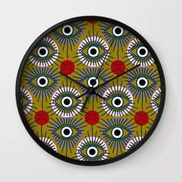 All Seeing Eye Pattern in Olive Wall Clock