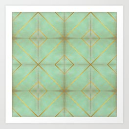 Teal and Gold Striped Tile Pattern Art Print