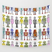 robots Wall Tapestries featuring Robots by Annabelle Scott