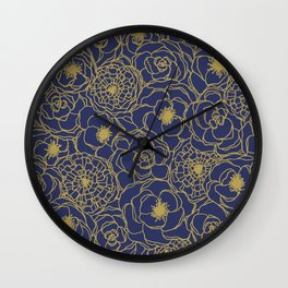 Blossom Navy and Gold Wall Clock