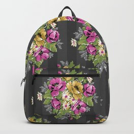 Floral Bouquet on Striped Background Backpack