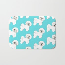Bichon Frise on aqua / teal / cute dogs/ dog lovers gift Bath Mat