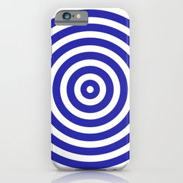 Circles (Navy Blue & White Pattern) iPhone Case