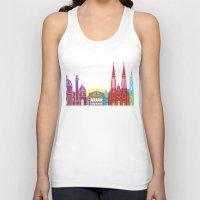 vienna Tank Tops featuring Vienna skyline pop by Paulrommer