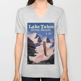 Lake Tahoe vintage ski travel poster Unisex V-Neck